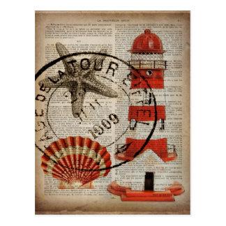 ordboken skrivar ut den kust- snäckskalfyren för vykort