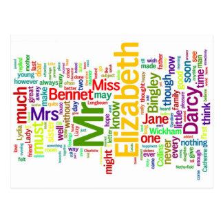 Ordkonst från Jane Austens pride och fördom Vykort
