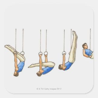 Ordna av male gymnast 2 för illustrationvisningen fyrkantigt klistermärke