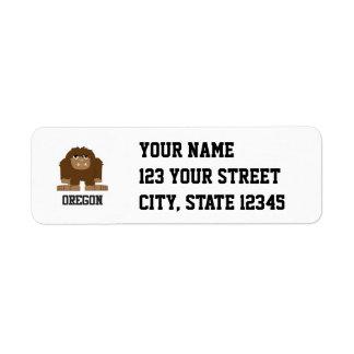 Oregon Bigfoot Returadress Etikett