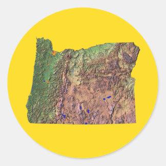 Oregon kartaklistermärke runt klistermärke