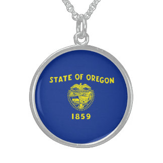 Oregon statlig flaggadesign sterling silver halsband