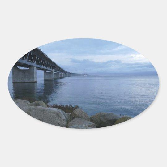 Öresundsbron, Sverige, Danmark Ovalt Klistermärke