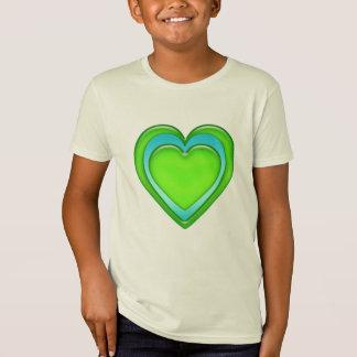 Organisk grön och för blåttgodisGel hjärta Tee Shirts