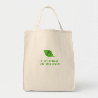 Organisk mat går räcker - in - räcker med grön tygkasse