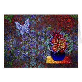 Organisk och geometrisk Psychedelic modern konst Hälsningskort