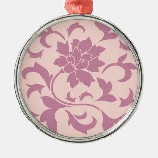 Orientalisk blomma - jordgubbe & rosa kvart julgransprydnad metall