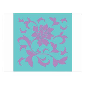Orientalisk blomma - lila Mint Vykort