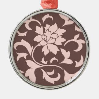 Orientalisk blomma - rosa kvartar & choklad julgransprydnad metall