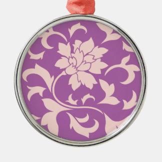 Orientalisk blomma - rosa kvartar & julgransprydnad metall