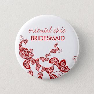 Orientalisk chic röd blom- påfågelbröllopnamn standard knapp rund 5.7 cm
