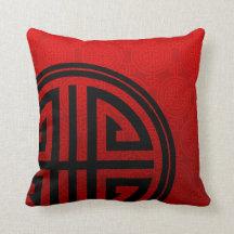 Orientalisk dekorativ lång röd svart för livsymbol kuddar