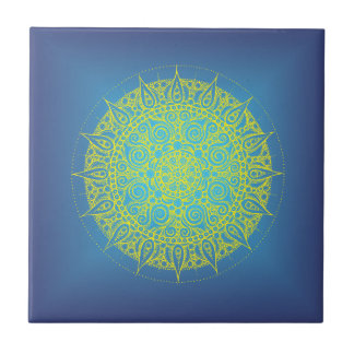 Orientalisk design för härliga blått kakelplatta