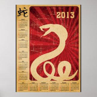 Orientalisk kalender för kobraorm 2013 poster