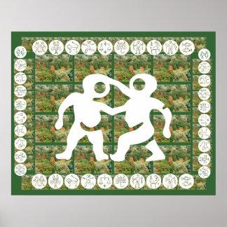 Orientalisk kinesisk röd energi för ZODIAC ART101 Poster