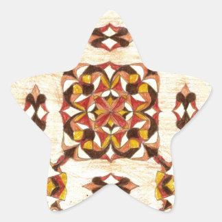 Orientalisk mattadesign för solbränna och för stjärnformat klistermärke