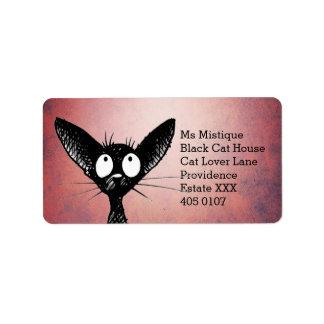 Orientalisk Shorthair svart katt Adressetikett