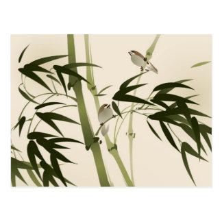 Orientalisk stilmålning, bambugrenar vykort