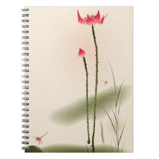 Orientalisk stilmålning, högväxt lotusblomma anteckningsbok med spiral