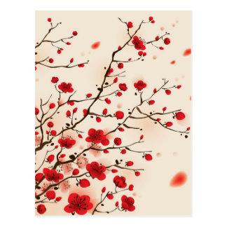 Orientalisk stilmålning, plommonblommar i vår vykort