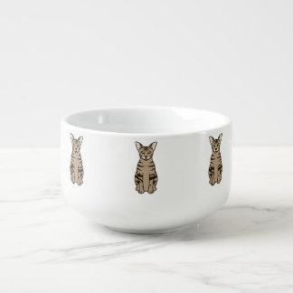 Orientalisk tabby katttecknad kopp för soppa