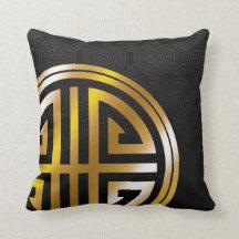 Orientaliskt dekorativt långt guld för kudde