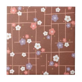 Origami blommor & linjer liten kakelplatta