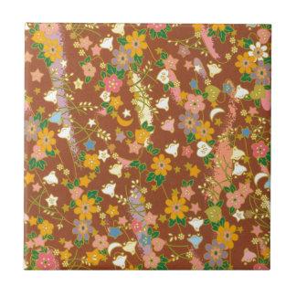 Origami blommor & stjärnor liten kakelplatta