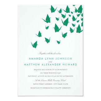 Origami papper sträcker på halsen bröllop 12,7 x 17,8 cm inbjudningskort