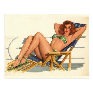 Original- färgläggning 22 för vintagepinupflicka vykort