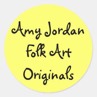 Original för Folk konst för AmyJordanien - Runt Klistermärke