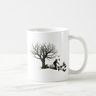 Original- gammalt träd för ballongclown & svart kaffemugg