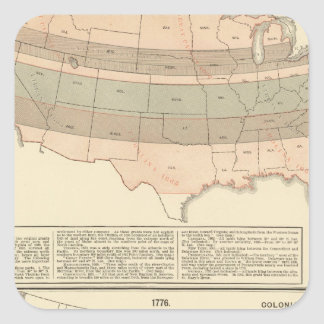 Original- lån av 1776 avgjorda område fyrkantigt klistermärke