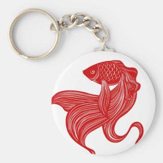 Original- Sax-cut guldfisk Keychain Rund Nyckelring