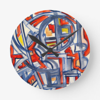 Orm i henhousen - Handpainted abstrakt konst Rund Klocka