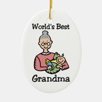 Ormanent världs bäst mormor julgransprydnad keramik