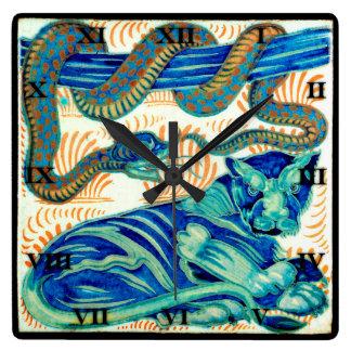 Ormen & den keramiska djungelkatten belägger med fyrkantig klocka