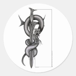 Ormen & svärd runt klistermärke