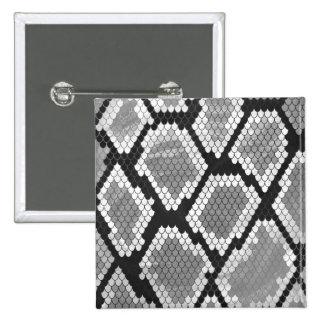 Ormgrått, vit och svart tryck standard kanpp fyrkantig 5.1 cm