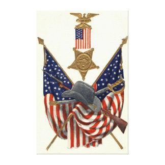 Örn för medalj för inbördeskrig för US-flagga fack Sträckt Canvastryck