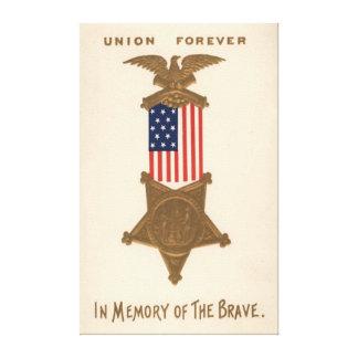 Örn för medalj för inbördeskrig för US-flagga fack Canvastryck