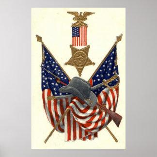Örn för medalj för inbördeskrig för US-flagga fack Poster