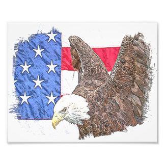 Örn med amerikanska flaggan fototryck