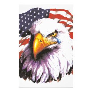 Örn med en reva - USA flagga i bakgrund Brevpapper