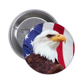 Örn och amerikanska flaggan standard knapp rund 5.7 cm