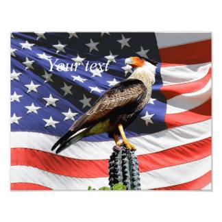 Örn på en kaktus framme av USA-flagga Fototryck