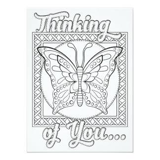 OrnaMENTALs som är tänkande av dig, färgar ditt 14 X 19,5 Cm Inbjudningskort