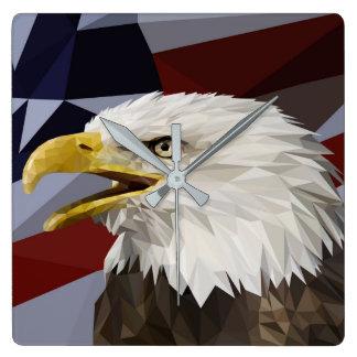 Örnamerikanska flaggan kudder fyrkantig klocka