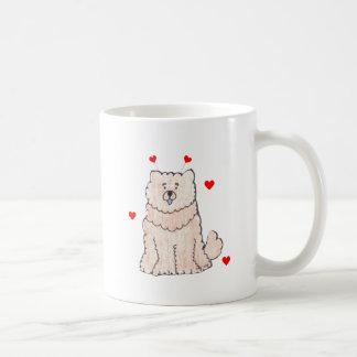 Öron för valentin för kräm för ChowChow Kaffemugg
