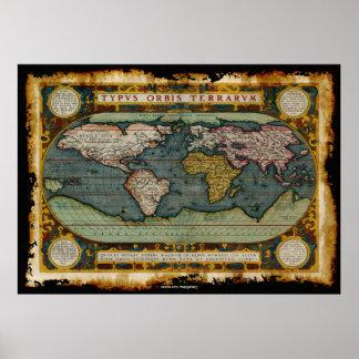 Orteliuss karta för gammala värld i lantlig poster